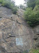 Rock Climbing Photo: Route starts right at the BP Cody graffiti, to the...