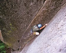 Rock Climbing Photo: Jeff M. in the upper jam section of Senior Citizen...