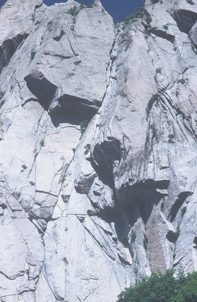 Rock Climbing Photo: Two climbers visible starting the 3rd pitch.