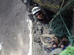 Only at the second pitch belay, but way above the Boulderfield.