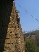 Rock Climbing Photo: Curt on Rock Creek Bridge (5.7?) in Redding, CA.