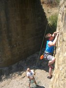 Rock Climbing Photo: Ryan crimping his way up Rock Creek Bridge, Reddin...