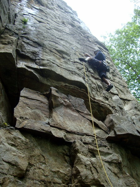 Leading Ankles Away (5.9) Foster Falls, TN, moving past the second clip