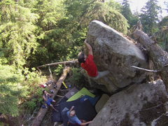 Rock Climbing Photo: Ryan contemplating the last move of Wise Man's Fea...