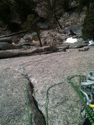 Rock Climbing Photo: Looking down at the runout on the direct start 5.9...
