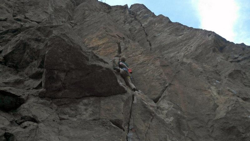 Below the crux of the 1st pitch