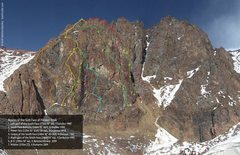 Rock Climbing Photo: Routes on the South Face of Pioneer Peak.  Copyrig...