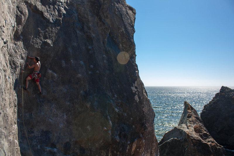 Rock Climbing Photo: Leading Corner Route at Mickey's Beach.