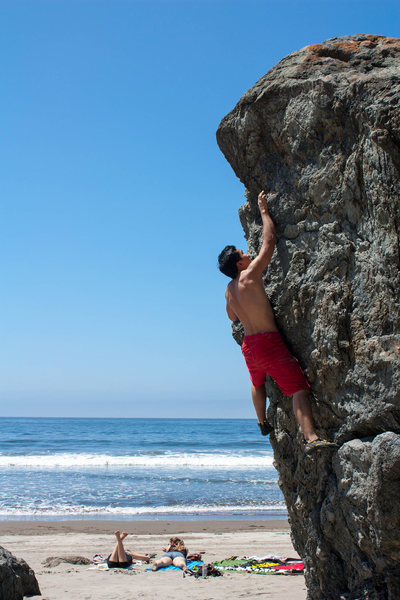 Rock Climbing Photo: Warming up at Stinson Beach.
