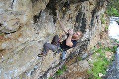 Rock Climbing Photo: Tyler Hoffart moving into the crux of Requiem