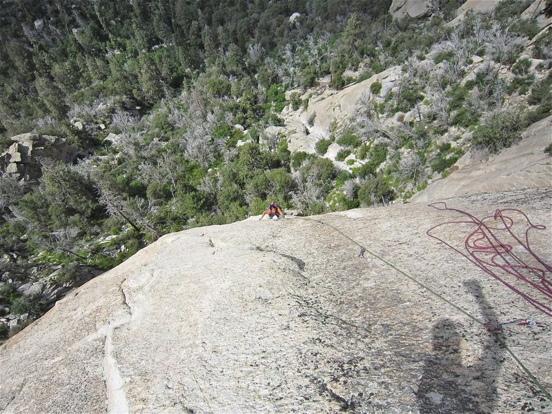 Rock Climbing Photo: Jill Hadap on the final slab of the second and las...