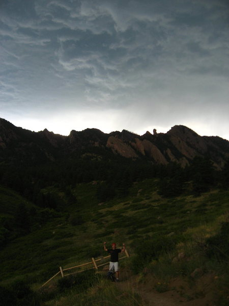Rock Climbing Photo: Typical mid-August afternoon in the Flatirons.