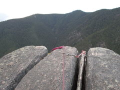 Rock Climbing Photo: Gear at the summit to keep rope out of rope-eating...