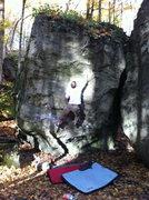 Rock Climbing Photo: Heading for the crux pocket