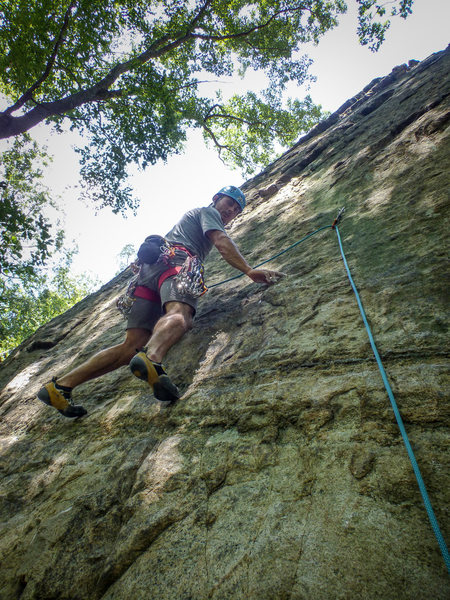 Karsten onsiting his first route at Allamuchy. Guess it is all down hill from here!