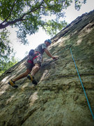 Rock Climbing Photo: Karsten onsiting his first route at Allamuchy. Gue...