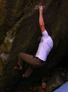 Rock Climbing Photo: The last deadpoint to a razor crimp. Although this...