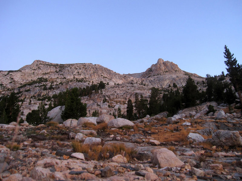 Rock Climbing Photo: The saddle to the left of the peak and near the ce...