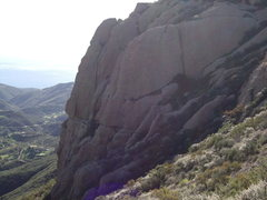 Rock Climbing Photo: Route starts at very bottom left of photo. 2nd pit...