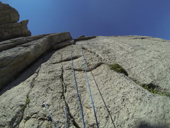 Rock Climbing Photo: Looking up the route from the belay ledge.  The be...