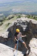 Rock Climbing Photo: Rapping down into the couloir