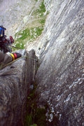 Rock Climbing Photo: Flaring layback corner on the third pitch