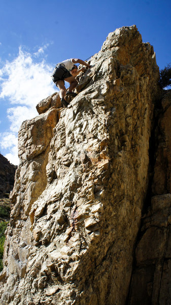 Rock Climbing Photo: John cruising up the full appendage