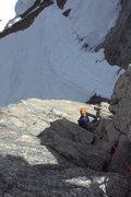 Rock Climbing Photo: Sailor Jerry 5.10b/c - FA top of pitch 3