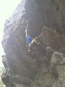 Rock Climbing Photo: Sticking the dyno on Officer Friendly