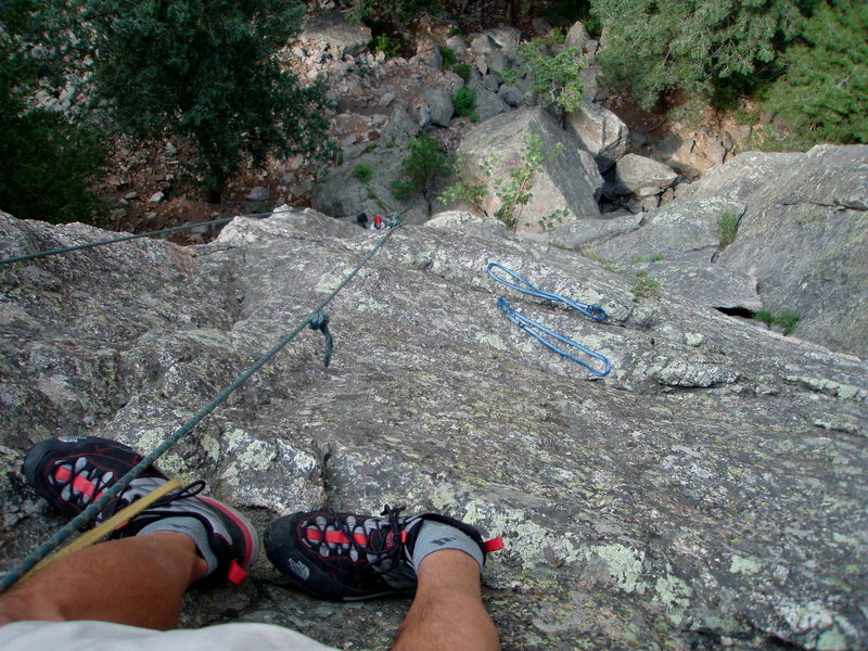 Rock Climbing Photo: Standing on ledge at current rap anchor looking do...