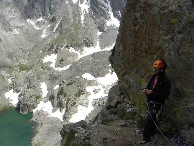 Rock Climbing Photo: Me on a rappel ledge on the Petit Grapon