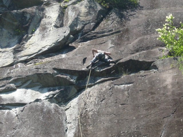 Just above the crux on Angora Grotto.