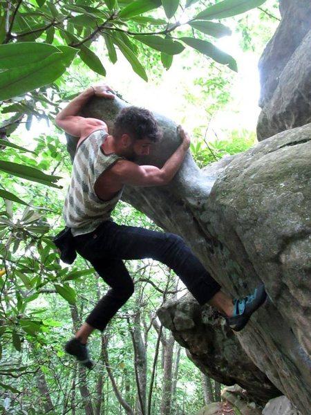 "Aaron Parlier on Gods. Thumb boulder, climbing ""Plastron Gaston"" at the Pavilion Area."