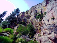 Rock Climbing Photo: April leading up the first pitch of Pony Express.