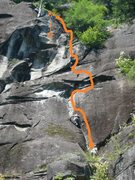 Rock Climbing Photo: Starting up the (bolted) crack on Angora.  Bring ....