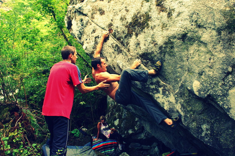 Rock Climbing Photo: stretching for the crux holds