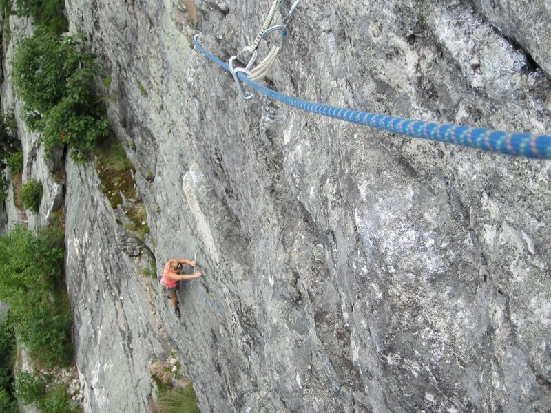 Hawk (5.4).  With smart placements and long runners, the first two &quot;guidebook&quot; pitches are easily linked - preferable since the shady belay treed atop p. 1 were wiped out in 2008 rockfall. <br>