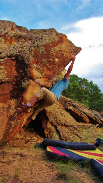 Rock Climbing Photo: Brad sticking the crucial arete hold.