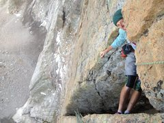 Rock Climbing Photo: Jake about the turn the Black Dagger roof which wa...