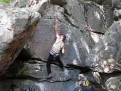 Rock Climbing Photo: Locking off the 2 finger and grabbing the upper po...