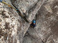 Rock Climbing Photo: Pumping it up.