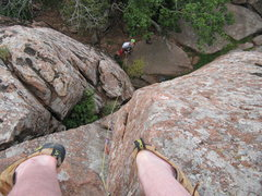 Rock Climbing Photo: Just above the roof crux on Mr. Green Slings.