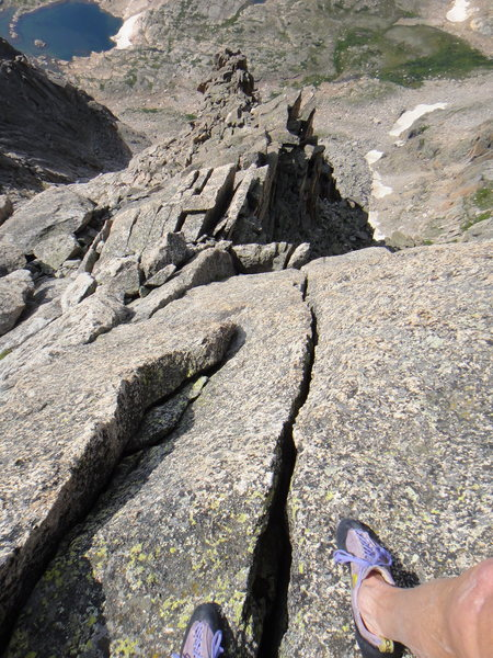 Looking down the finger and hand crack, visible in the previous photo. Snowbank Lake is at top, left.
