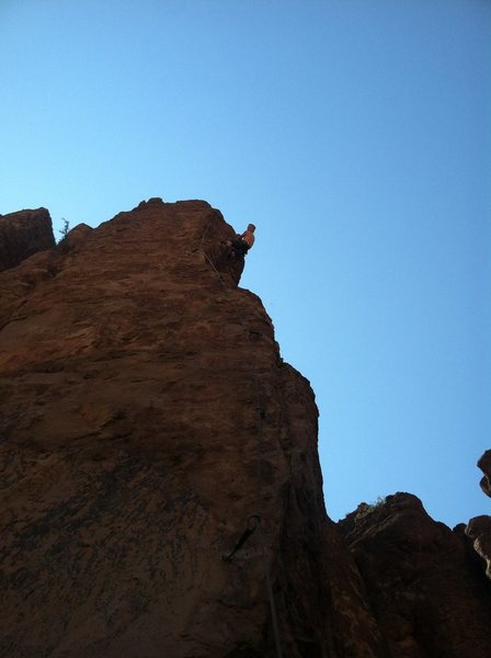 Nick working up the Mangler.  Great climb, still a few loose bits to watch out for.