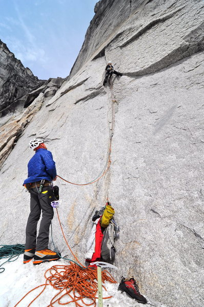 Rock Climbing Photo: the opening pitch from the moat
