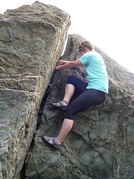 Rock Climbing Photo: Lauren Savoy making her way up. Note the golfball ...