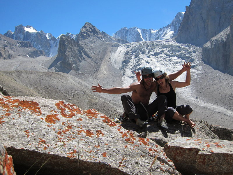 Rock Climbing Photo: Mack and me with the Ak-Sai Glacier in the backgro...