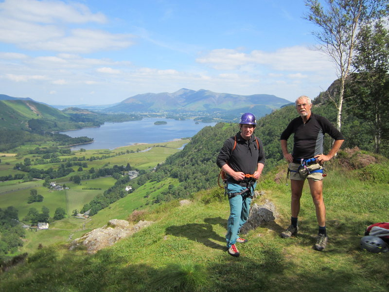Bill Freelands and Pete Armstrong on the top of Black Crag, Borrowdale Valley