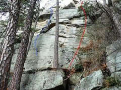 Rock Climbing Photo: Man Overboard follows the blue line.  (Red line is...