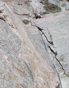 Rock Climbing Photo: Looking down P3, Rainbow Highway.